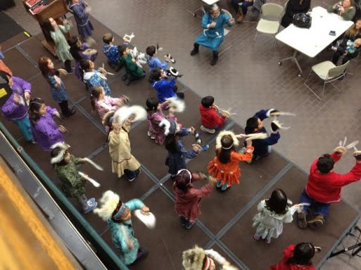 A kick-off event for Alaska Native Heritage Month at the University of Alaska Anchorage's student union stomping open with dance Thursday morning leads into a keynote speech by Lt. Governor Byron Mallott. The event drew a respectable crowd at 11 a.m. on November 5.